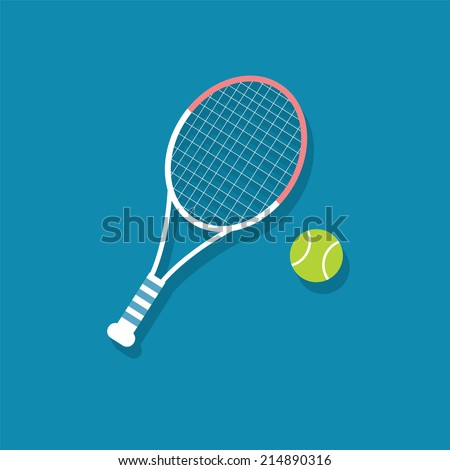 Racket and ball  tennis flat icon  vector illustration eps10   - stock vector