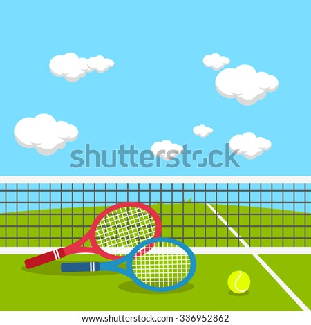 Rackets and ball at tennis court.   - stock vector