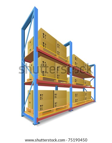 Racks, pallets and boxes in stock are shown in the picture. - stock vector