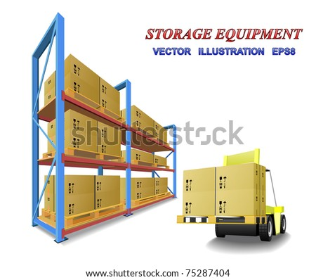 Racks, trays, boxes and forklifts in the warehouse are shown in the picture. - stock vector