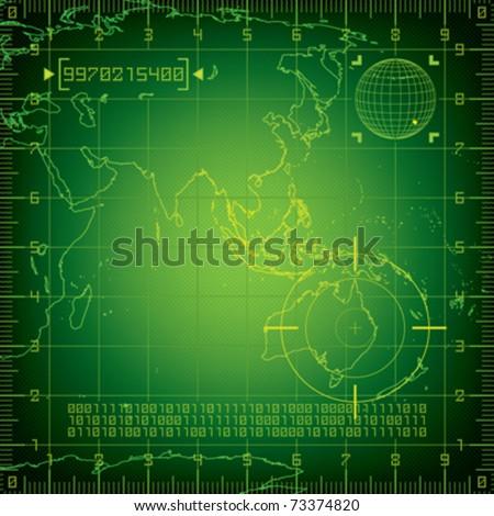 Radar Asia and Australia - stock vector