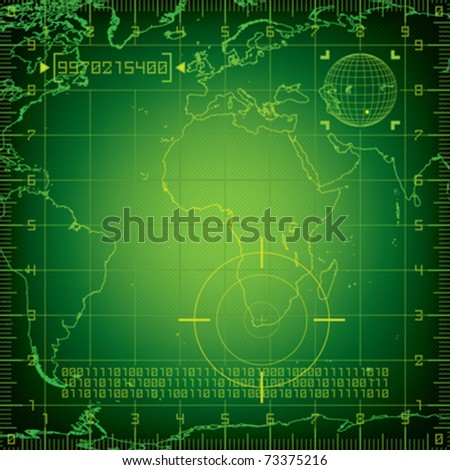 Radar Europe and Africa - stock vector