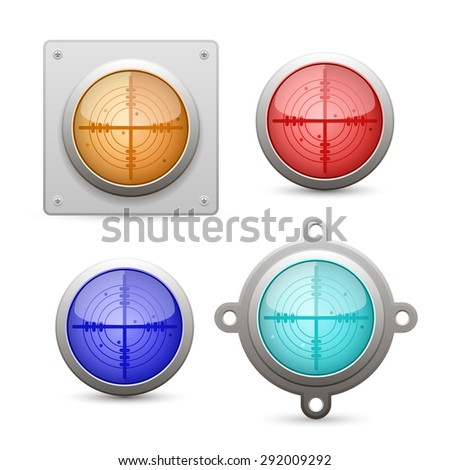 Radar icon set. Vector Illustration - stock vector