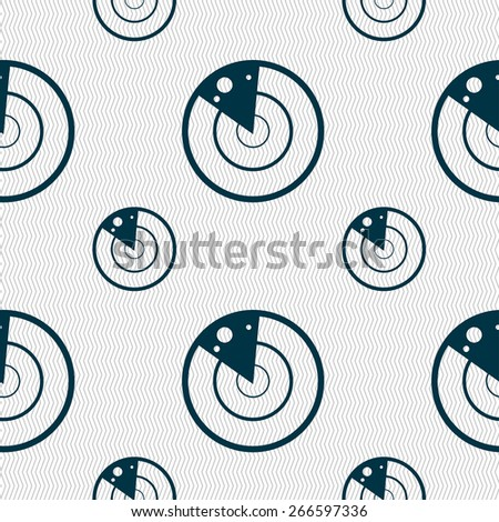 radar icon sign. Seamless pattern with geometric texture. Vector illustration - stock vector