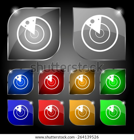radar icon sign. Set of ten colorful buttons with glare. Vector illustration - stock vector