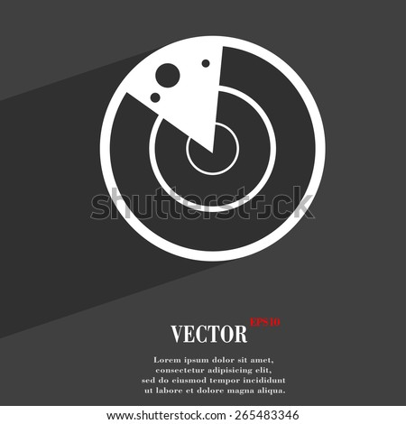 radar  icon symbol Flat modern web design with long shadow and space for your text. Vector illustration - stock vector