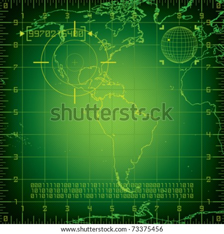 Radar North and South America - stock vector