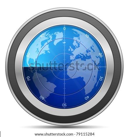 Radar. Oscilloscope monitor with a world map. Vector Illustration - stock vector
