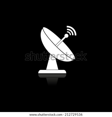 Radar satellite dish - Vector icon with shadow - stock vector