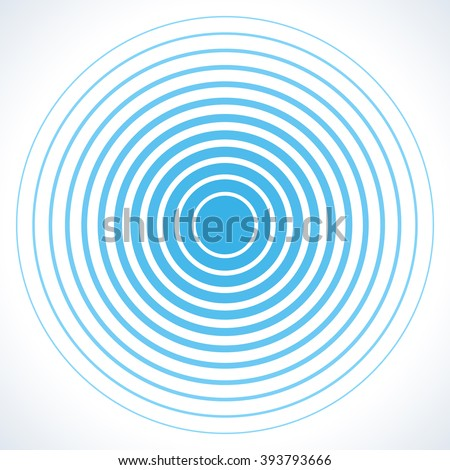 Radar screen concentric circle elements. Vector illustration for sound wave. White and blue color ring. Circle spin target. Radio station signal. Center minimal radial ripple line outline abstraction