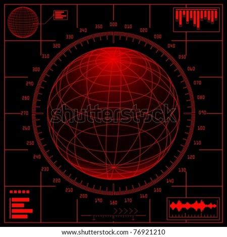 Radar screen. Digital globe with scale. Vector Eps 8. - stock vector