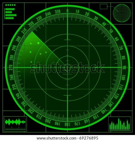 Radar screen. Vector EPS10. No mesh, gradients only. - stock vector