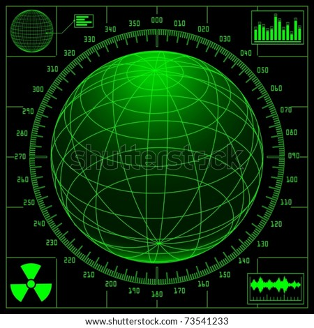Radar screen with digital globe and scale (vector) - stock vector