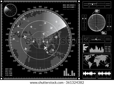 Radar screen with planes and futuristic user interface HUD.  Black and white infographic elements. Vector illustration.