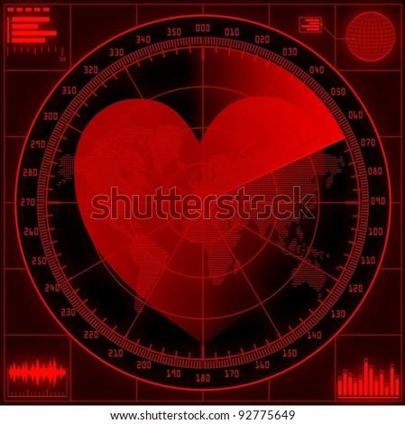 Radar screen with red heart.Vector EPS10. - stock vector