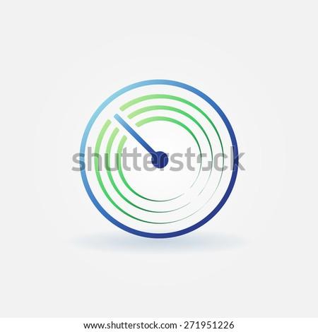 Radar vector simple icon - bright sonar sign or logo - stock vector