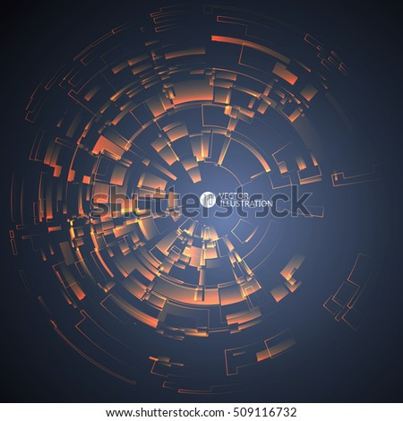 Radial abstract graphics, vector illustration.