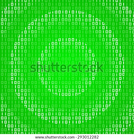 Radial pattern binary waves traveling on green background. Technology global connection theme vector background design. - stock vector