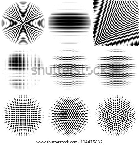 Radial Patterns. Design Elements for Background. Vector Illustration - stock vector