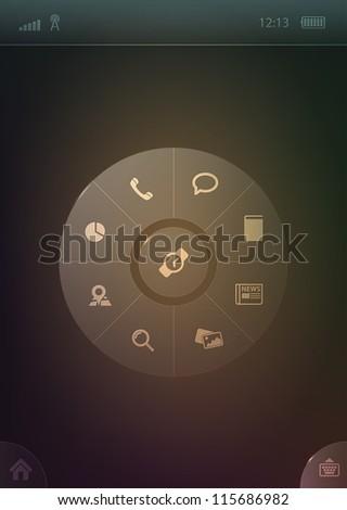 Radial smartphone menu template - stock vector