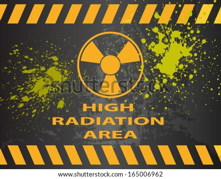 Radiation Area Warning Sign Splattered With Radioactive Material - stock vector