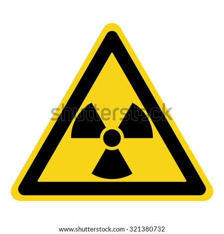 Radiation Hazard Sign. Symbol of radioactive threat alert. Black hazard emblem isolated in yellow triangle on white background. Danger label. Warning icon. Stock Vector Illustration - stock vector