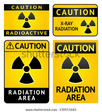 Radiation hazard stickers, four labels, vector illustration - stock vector