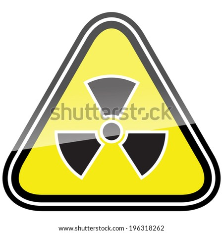 Radiation hazard symbol sign of radiation alert icon, black yellow triangle - stock vector