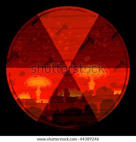 Radiation hazard warning sign against nuclear war background (full size background landscape id 44319379) - stock vector