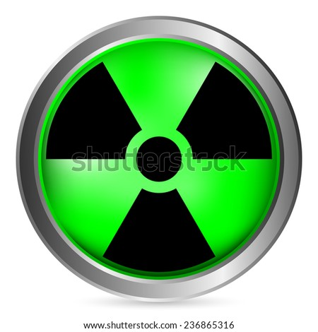 Radiation sign button on white background. Vector illustration. - stock vector