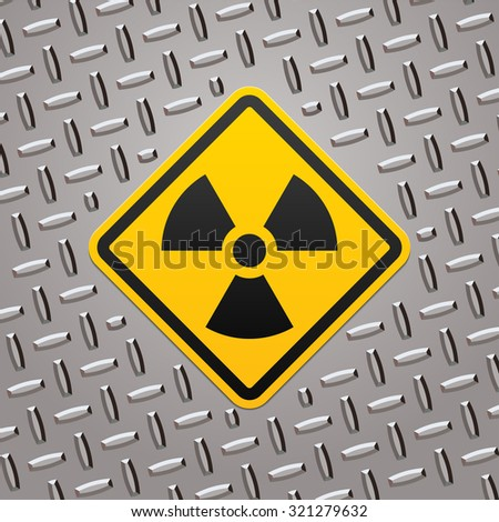 Radiation sign on metal plate - stock vector