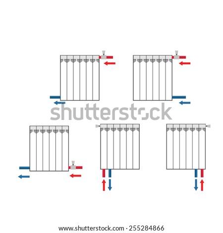 Radiator Connection Methods. Vector illustration. - stock vector