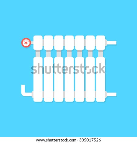 radiator icon with temperature regulation. concept of interior comfort, iron pipe, cozy lodging, power heatsink, cooler. isolated on blue background. flat style trend modern design vector illustration - stock vector