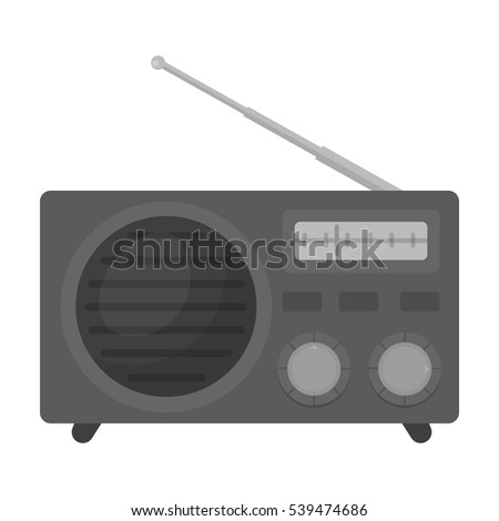 Radio advertising icon in monochrome style isolated on white background. Advertising symbol stock vector illustration.