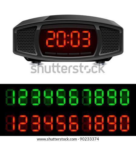 Radio alarm clock. Illustration isolated on white background. - stock vector