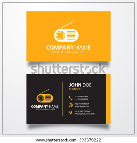 Radio icon. Business card template - stock vector