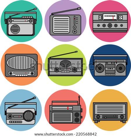 Radio Icons - stock vector