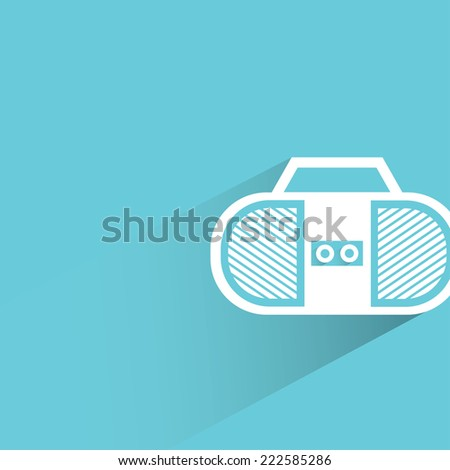radio in blue background, flat and shadow design - stock vector