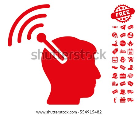 Radio Neural Interface icon with free bonus graphic icons. Vector illustration style is flat iconic symbols, red color, white background.