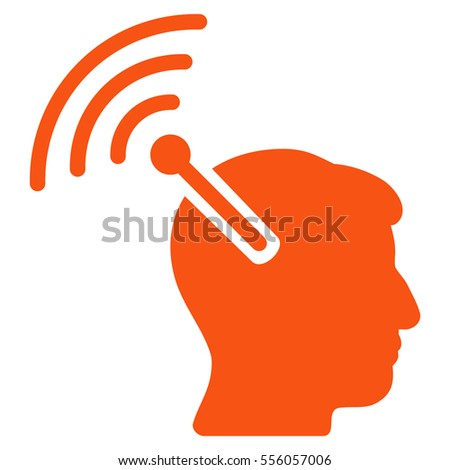 Radio Neural Interface vector icon. Style is flat graphic symbol, orange color, white background.