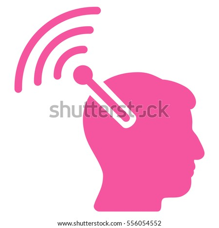 Radio Neural Interface vector icon. Style is flat graphic symbol, pink color, white background.