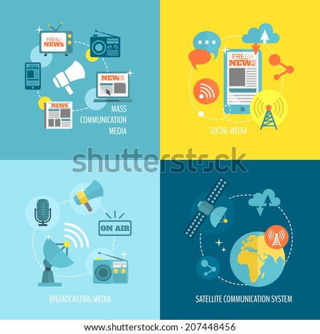 Radio newspaper live tv concept flat business icons set of mass communication social broadcasting for infographics design web elements vector illustration - stock vector