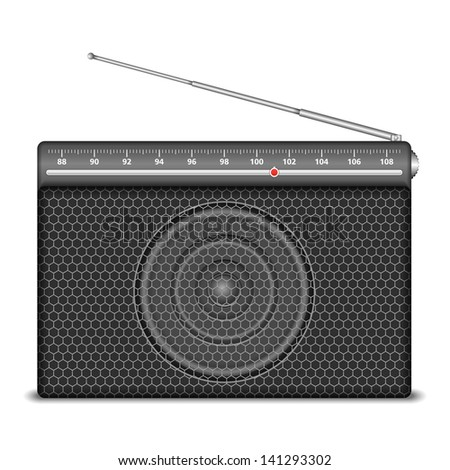 Radio on white background, vector eps10 illustration - stock vector