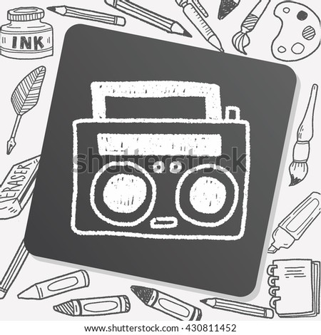 radio player doodle drawing