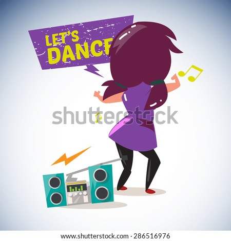 radio playing cool music with dancing girl in behind with speech bubble. love music concept - vector illustration - stock vector
