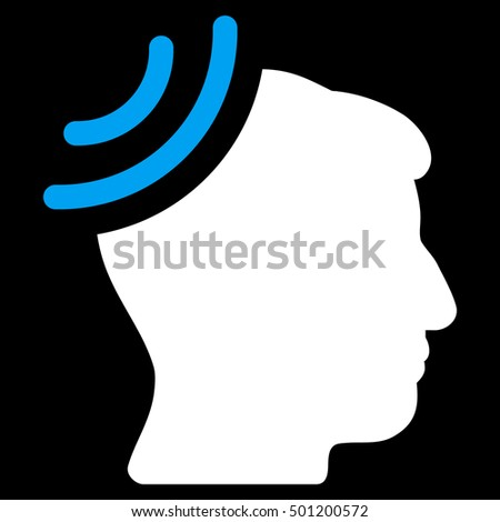 Radio Reception Brain vector pictogram. Style is flat graphic bicolor symbol, blue and white colors, black background.