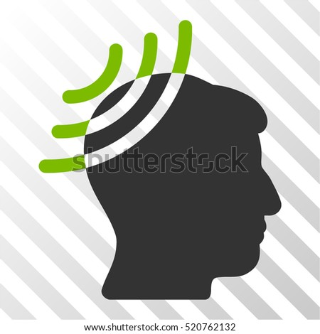 Radio Reception Head vector pictogram. Illustration style is flat iconic bicolor eco green and gray symbol on a hatched transparent background.