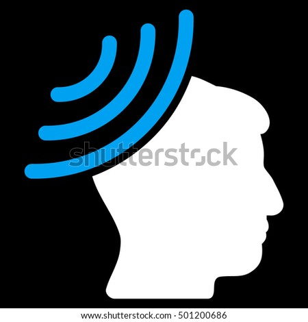 Radio Reception Mind vector icon. Style is flat graphic bicolor symbol, blue and white colors, black background.
