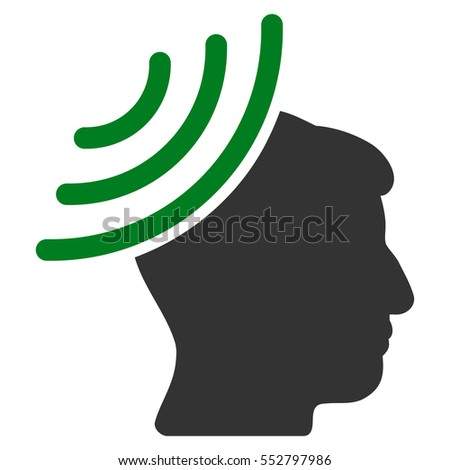 Radio Reception Mind vector pictograph. Style is flat graphic bicolor symbol, green and gray colors, white background.