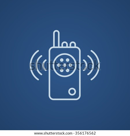 Radio set line icon for web, mobile and infographics. Vector light blue icon isolated on blue background. - stock vector